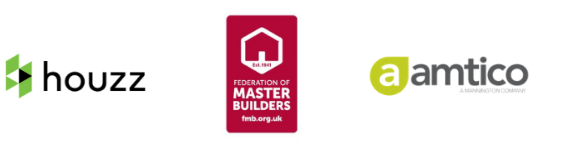 Houzz logo, Amtico logo, Federation of Masters Builders logo